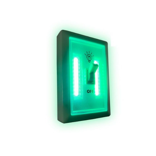 Cordless Green LED Wall Light Switch by GreenBrite Plant Safe Portable Lighting - TheHydroPlug
