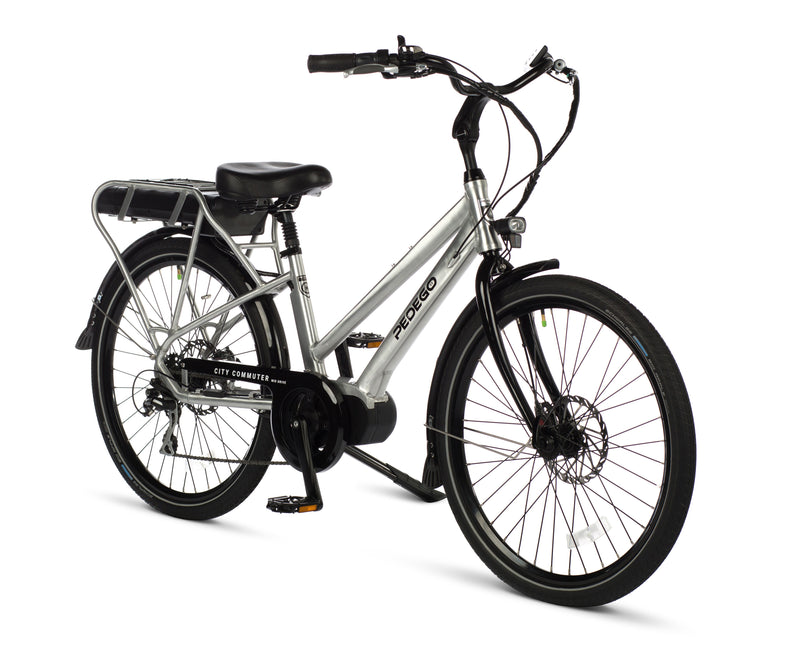 Pedego Electric Bike City Commuter Mid Drive Step Thru Silver Frame ebike