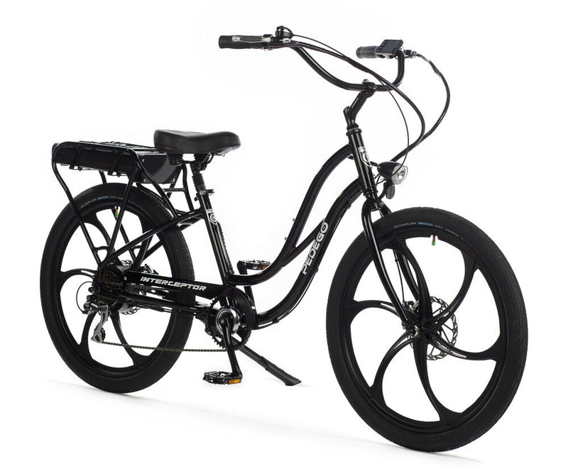 Pedego Electric Bike Step thru interceptor Black frame w/ mag wheels Ebike