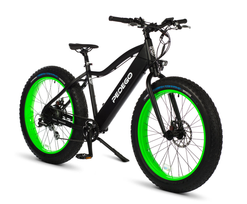 Pedego Trail Tracker Electric fat tire bike-Black w/green rims