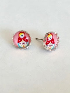 Pink Matryoshka Doll Earrings