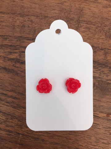 Mini Rose Earring - Ashley Red