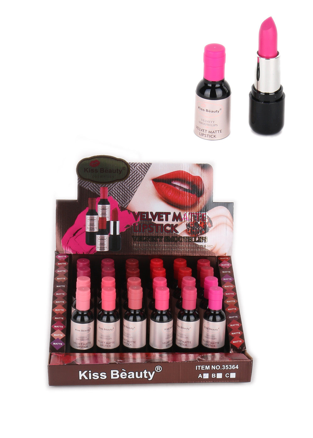 LT-570 : KISS BEAUTY Velvet Matte LIPSTICK ( 24 PC