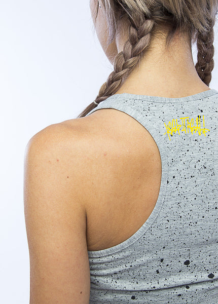ESSENTIAL SPLATTERED GRAY MUSCLE TANK
