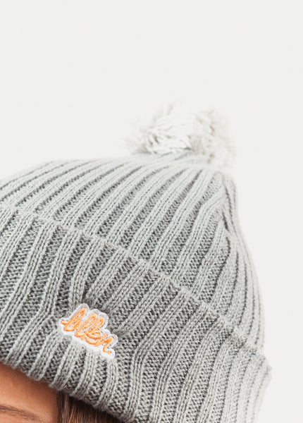 EMBROIDERED LOGO POM BEANIE
