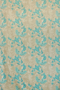 Paisley - Turquoise on Old Grey Fabric