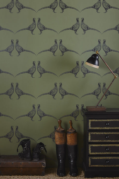 Pheasant - Camo Green Wallcovering
