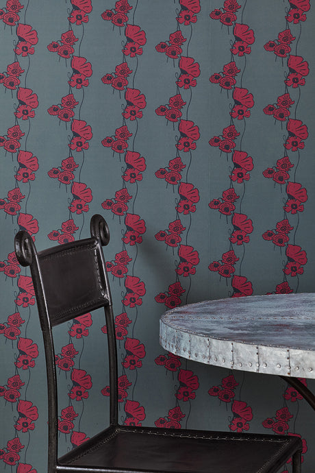 Poppy Fields - Red on Gunmetal Wallcovering