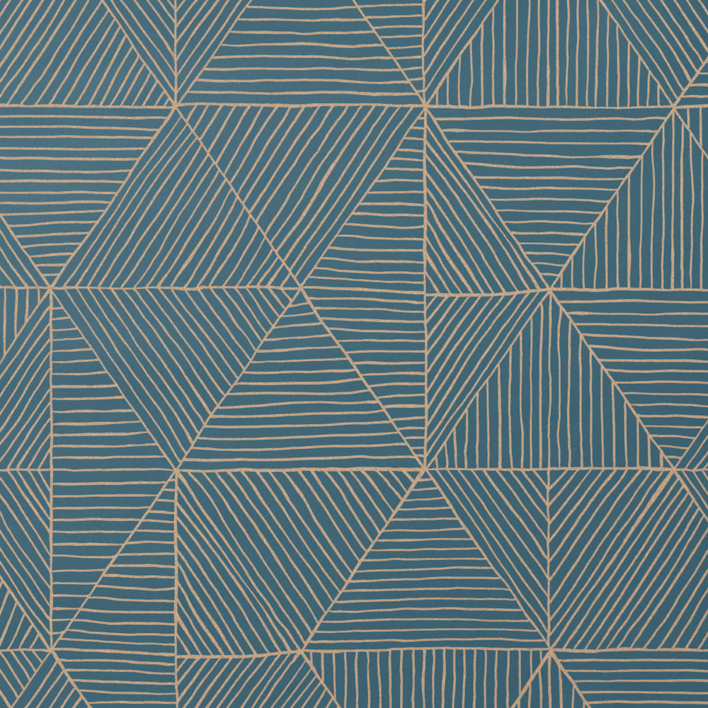 2.0 - Gold on Blue Wallcovering