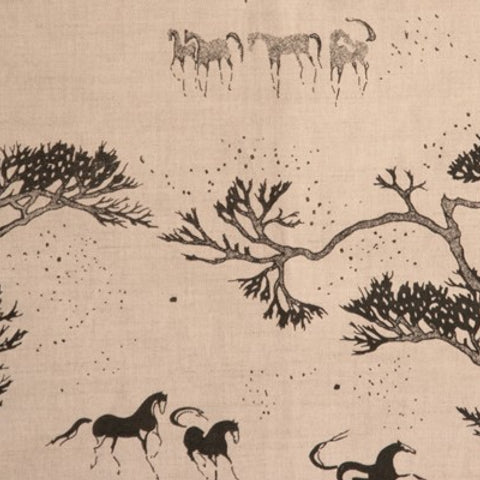 Chinese Horses Charcoal and Oatmeail Fabric