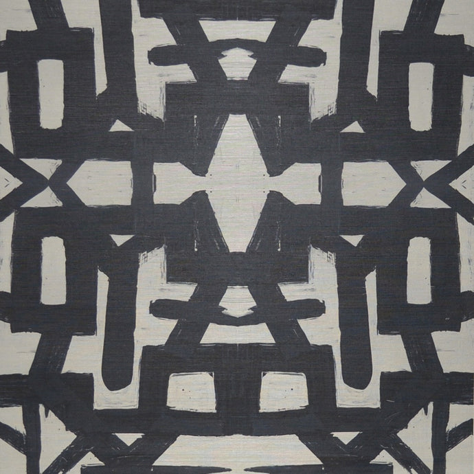 82113 Black White Sisal Grasscloth Wallcovering