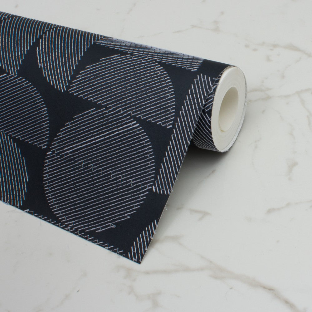 Arc Embroidered Midnight Wallcovering