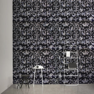 Aves Embroidered Grey Wallcovering