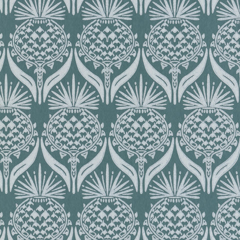 Artichoke Thistle Wallpaper - Teal