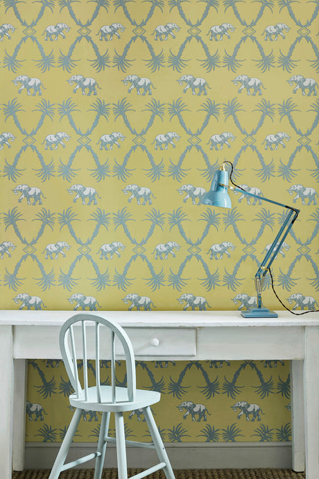 Elephant Palm - Ochre Blue Wallcovering
