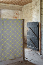 Load image into Gallery viewer, Horse Trellis - Acid Yellow on Grey Fabric