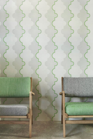 Jigsaw Stripe Green Wallpaper