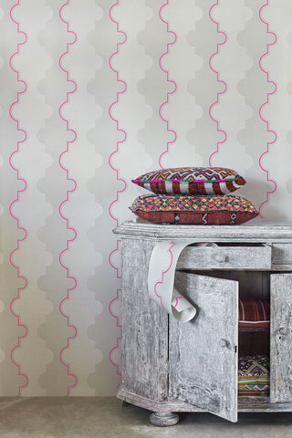 Jigsaw Stripe Pink Wallpaper