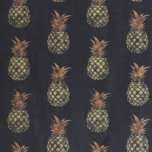 Pineapple - Gold on Charcoal Fabric