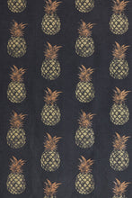 Load image into Gallery viewer, Pineapple - Gold on Charcoal Fabric