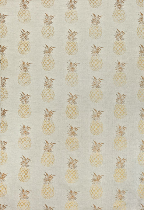 Pineapple - Gold on Natural Fabric