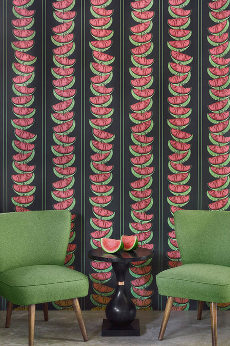 Watermelon - Charcoal Wallcovering