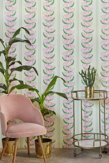 Watermelon Pink Green Wallcovering
