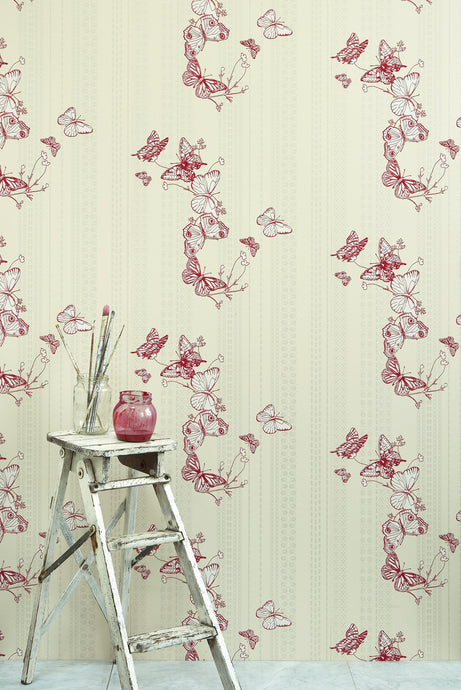 Bugs & Butterflies - Raspberry Wallcovering