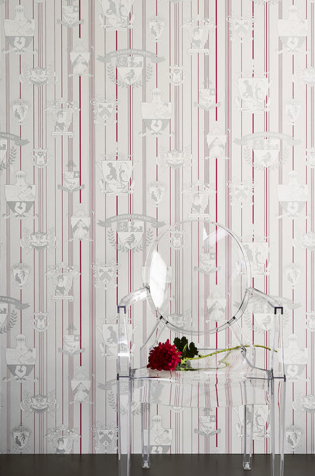 Carpe Noctem - Hot Pink Silver Wallcovering