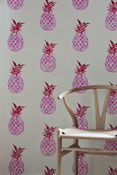 Pineapple - Pink & Red Wallcovering