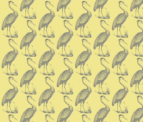 Blue Heron Citrine Fabric