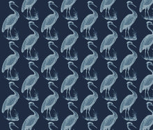 Load image into Gallery viewer, Blue Heron Indigo White Fabric