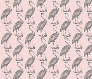 Blue Heron Pinkish Grey Fabric