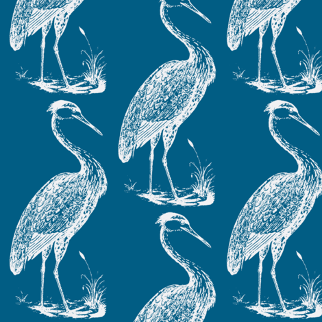Blue Heron Summer Blue Fabric