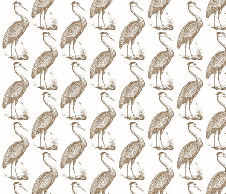 Blue Heron White Cafe Fabric