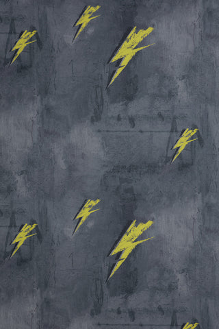 Bolt From Mars Wallcovering - Yellow on Charcoal