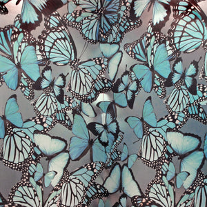 Butterflies Turquoise on Nickel Type ll Wallcovering