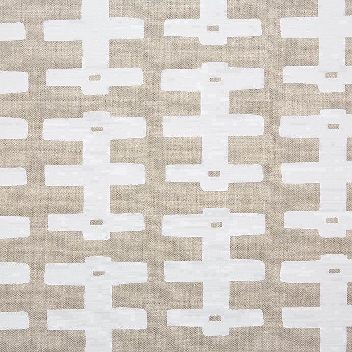 Bridge White on Natural Linen Fabric