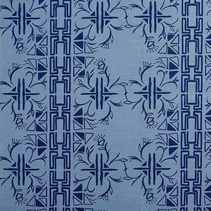 Cerita Navy on Monsoon Linen Fabric