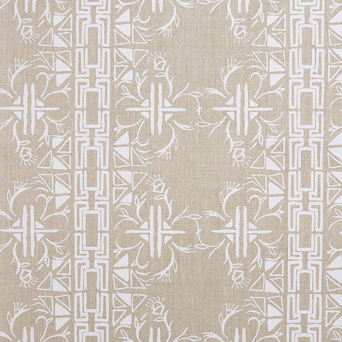 Cerita White On Natural Linen Fabric