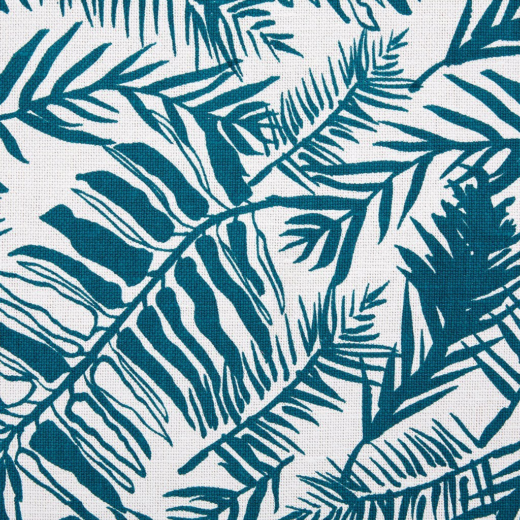 Hutan Teal  On Oyster Linen Fabric