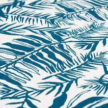 Load image into Gallery viewer, Hutan Teal  On Oyster Linen Fabric