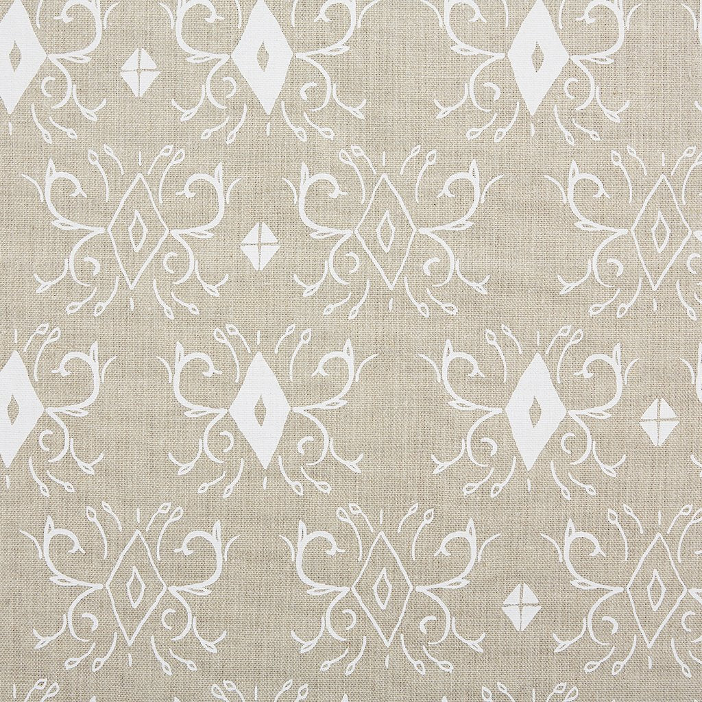 Kadek White On Natural Linen Fabric