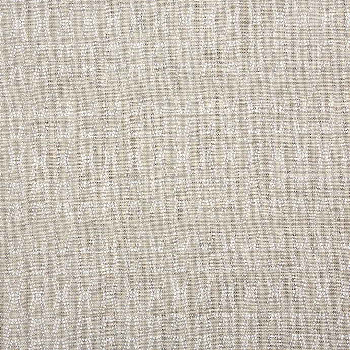 Ketut White On Natural Linen Fabric