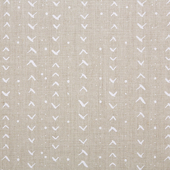 Titik White On Natural Linen  Fabric