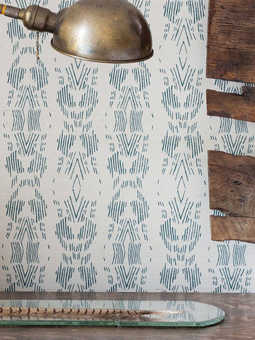 DASH Dark Teal Grasscloth  Wallcovering