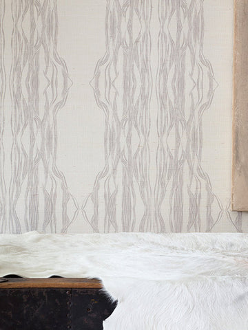 FLOW Light Gray  Grasscloth Wallcovering