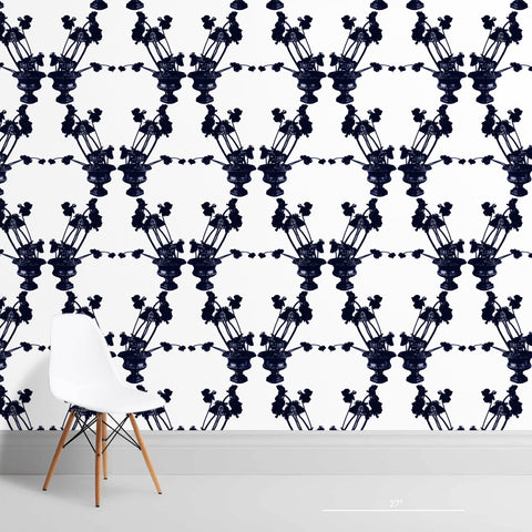 Frida White and Indigo Wallcovering