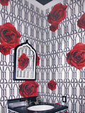 Hollywood Garden Red on Grey Commercial Grade Wallpaper