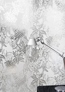 Hothouse White Silver Wallcovering
